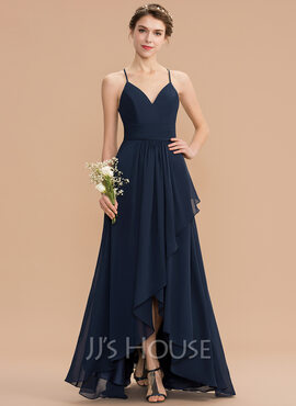 A-Line V-neck Asymmetrical Chiffon Lace Bridesmaid Dress With Cascading Ruffles (007165825)