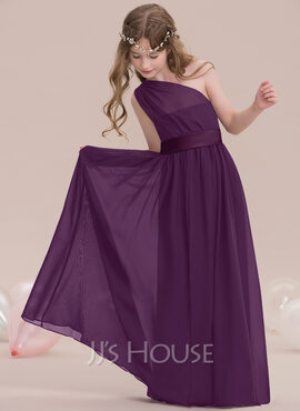 A-Line/Princess One-Shoulder Floor-Length Chiffon Junior Bridesmaid Dress With Ruffle (009119590)