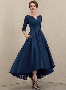 A-Line V-neck Asymmetrical Satin Mother of the Bride Dress With Beading Sequins Pockets (008204918)