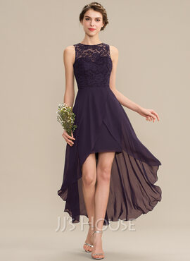A-Line Scoop Neck Asymmetrical Chiffon Lace Bridesmaid Dress (007165862)