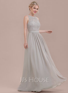 A-Line Scoop Neck Floor-Length Chiffon Lace Bridesmaid Dress With Ruffle (007116655)