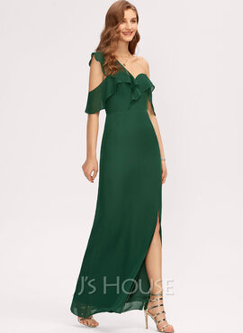Sheath/Column One-Shoulder Floor-Length Chiffon Bridesmaid Dress With Split Front Cascading Ruffles (007221206)