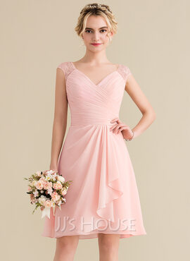 A-Line V-neck Knee-Length Chiffon Lace Homecoming Dress With Cascading Ruffles (022165789)