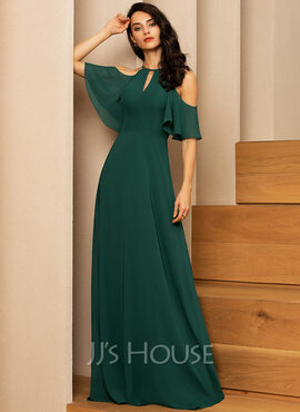 A-Line Scoop Neck Floor-Length Chiffon Evening Dress (017237019)