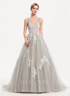 Ball-Gown/Princess V-neck Sweep Train Tulle Evening Dress (017186125)