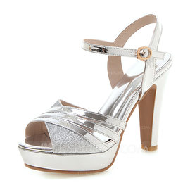 Women's Patent Leather Chunky Heel Sandals Pumps Platform Peep Toe With Hollow-out shoes (087204234)