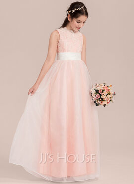 A-Line Scoop Neck Floor-Length Organza Junior Bridesmaid Dress With Ruffle Sequins