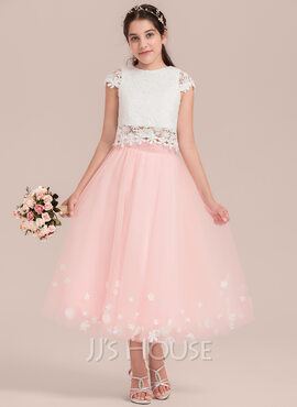 A-Line/Princess Tea-length Flower Girl Dress - Tulle/Lace Sleeveless Scoop Neck With Flower(s) (010144534)
