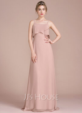A-Line/Princess Sweep Train Chiffon Bridesmaid Dress With Cascading Ruffles (007104742)