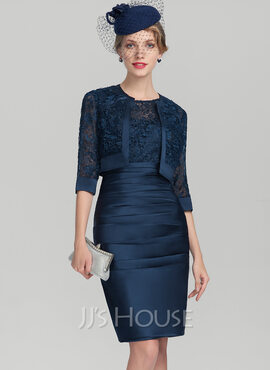 Sheath/Column Scoop Neck Knee-Length Satin Lace Mother of the Bride Dress With Ruffle (008131928)