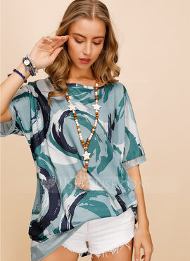 Manches courtes Polyester Col rond Blouses (1003223691)