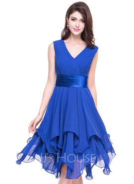 A-Line V-neck Asymmetrical Chiffon Cocktail Dress With Ruffle Cascading Ruffles (016066936)