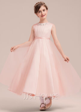 A-Line/Princess Ankle-length Flower Girl Dress - Satin Tulle Sleeveless Scoop Neck With Beading Bow(s) (269182357)