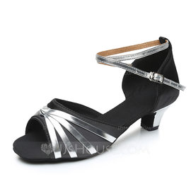 Women's Satin Leatherette Heels Sandals Latin With Ankle Strap Dance Shoes (053092252)