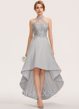 A-Line Halter Asymmetrical Chiffon Lace Bridesmaid Dress (007190692)