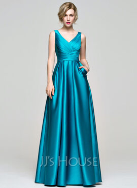 A-Line V-neck Floor-Length Satin Bridesmaid Dress With Ruffle Pockets (007074189)