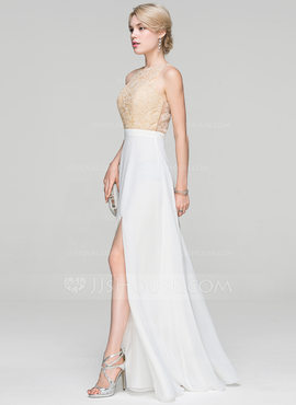 A-Line/Princess Scoop Neck Floor-Length Chiffon Evening Dress With Split Front (017093490)