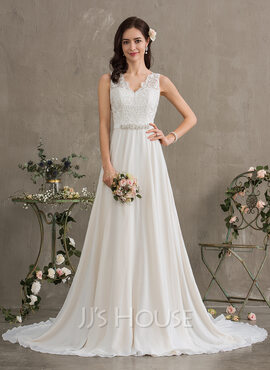 A-Line V-neck Court Train Chiffon Wedding Dress With Beading Sequins (002186397)