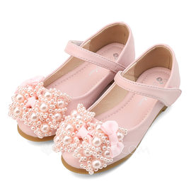 Girl's Closed Toe Leatherette Flat Heel Flats Flower Girl Shoes With Bowknot Imitation Pearl Velcro