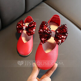 Girl's Round Toe Closed Toe Leatherette Wedge Heel Flats Flower Girl Shoes With Bowknot Velcro (207218222)
