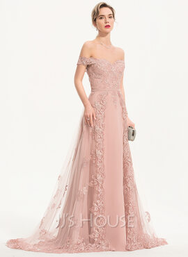 A-Line Off-the-Shoulder Sweep Train Chiffon Tulle Prom Dresses (018221185)