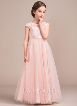 A-Line/Princess Scoop Neck Floor-Length Tulle Lace Junior Bridesmaid Dress With Bow(s) (009081156)