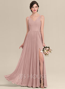 A-Line V-neck Floor-Length Chiffon Bridesmaid Dress With Split Front Pleated (007126466)