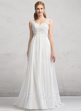 A-Line/Princess V-neck Sweep Train Chiffon Wedding Dress With Beading Sequins (002083688)