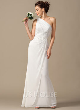 Sheath/Column One-Shoulder Floor-Length Chiffon Bridesmaid Dress With Ruffle (266176965)