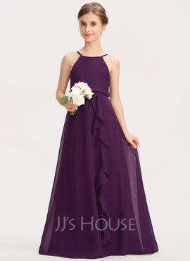 A-Line Scoop Neck Floor-Length Chiffon Junior Bridesmaid Dress With Bow(s) Cascading Ruffles (009191727)