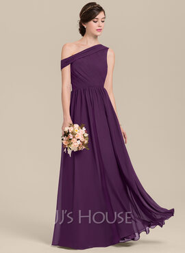 A-Line/Princess Off-the-Shoulder Floor-Length Chiffon Bridesmaid Dress With Ruffle (007126425)