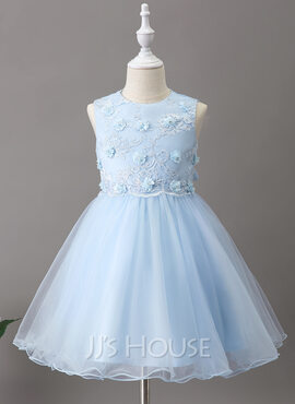 A-Line Knee-length Flower Girl Dress - Tulle/Lace Sleeveless Scoop Neck With Flower(s) (010211907)