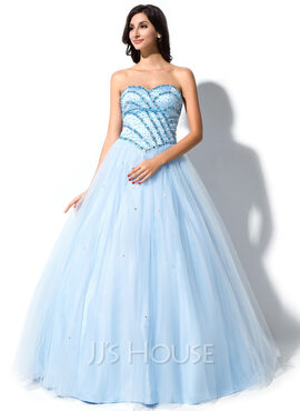 Ball-Gown Sweetheart Floor-Length Tulle Quinceanera Dress With Beading Sequins (021040814)