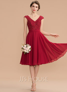 A-Line V-neck Knee-Length Chiffon Lace Prom Dresses With Beading (018229945)