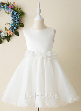 A-Line Knee-length Flower Girl Dress - Organza Sleeveless Scoop Neck (010206284)