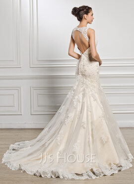 Trumpet/Mermaid Sweetheart Court Train Tulle Lace Wedding Dress With Beading Sequins (002056929)