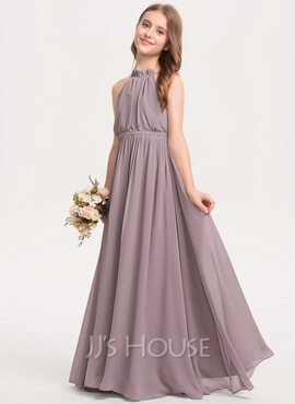 A-Line High Neck Floor-Length Chiffon Junior Bridesmaid Dress With Bow(s) Cascading Ruffles (009208613)