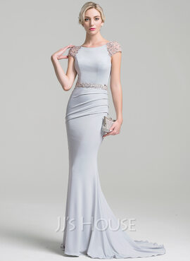 Trumpet/Mermaid Scoop Neck Sweep Train Jersey Evening Dress With Ruffle Beading Sequins (017096356)