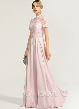 A-Line High Neck Floor-Length Chiffon Evening Dress (017167675)