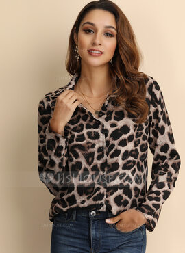 Manches longues Polyester Col à Revers Blouses (1003223565)