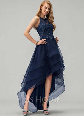 A-Line Scoop Neck Asymmetrical Tulle Evening Dress With Lace Beading Sequins (017229910)