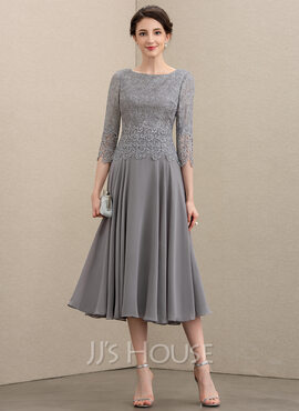 A-Line Scoop Neck Tea-Length Chiffon Lace Cocktail Dress (016208822)