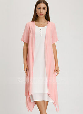 Linen With Resin solid color/Crumple Midi Dress (Two Pieces ) (199205597)