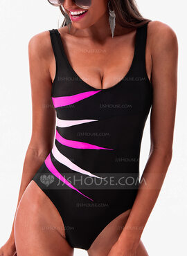 Elegant Plus Size Colorful Polyester Spandex One-piece