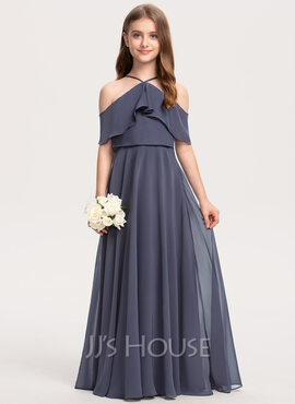 A-Line Off-the-Shoulder Floor-Length Chiffon Junior Bridesmaid Dress With Cascading Ruffles (009208614)