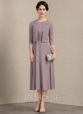 A-Line Scoop Neck Tea-Length Chiffon Mother of the Bride Dress With Ruffle (008143374)