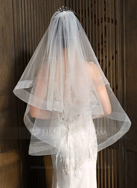 One-tier Cut Edge Fingertip Bridal Veils (006218561)