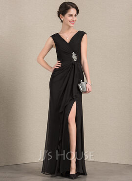 A-Line V-neck Floor-Length Chiffon Mother of the Bride Dress With Beading Split Front Cascading Ruffles (008143388)