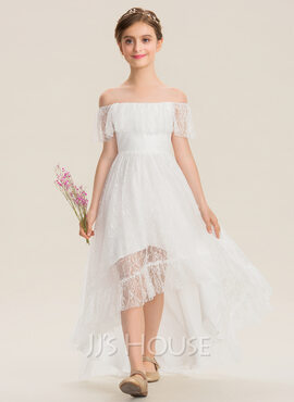 A-Line Off-the-Shoulder Asymmetrical Lace Junior Bridesmaid Dress (009173286)