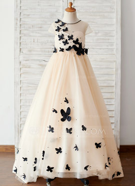 Ball-Gown/Princess Sweep Train Flower Girl Dress - Tulle Short Sleeves Scoop Neck With Bow(s) (010211711)